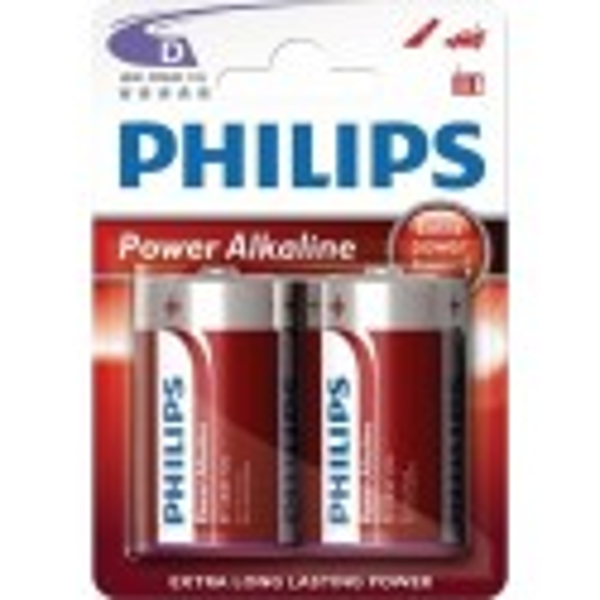Pilas alcalina LR20 Power Alkaline Philips 12 blisters de 2 unidades.