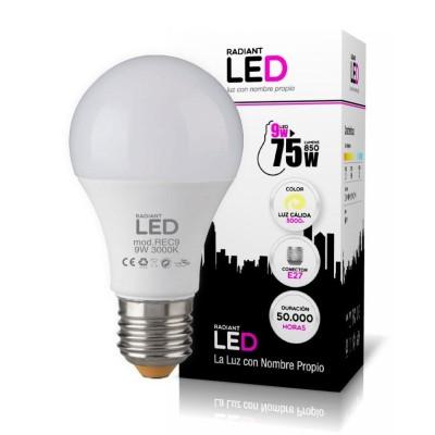 BOMBILLA LED E27 9W 3000K LUZ CÁLIDA 850LM RADIANT LED