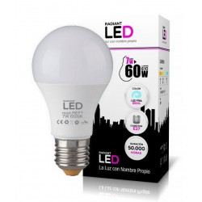 BOMBILLA LED E27 7W 6500K LUZ FRÍA 610LM RADIANT LED