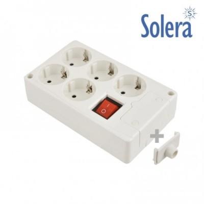 Base de 5 tomas bipolares con T/T lateral , con interruptor luminoso, 16A 250V - 3680W Longitud 1,5m