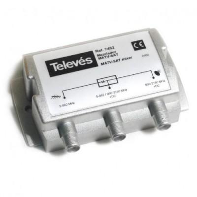 Mezclador TDT-Satélite 2e/1s RF+FI Televes 745210 MATV-FI 2e/1s-F DC