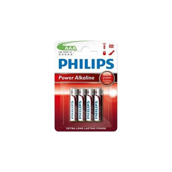 Pilas alcalina 34LR3 Power Alkaline AAA Philips 12 blisters de 4 unidades.