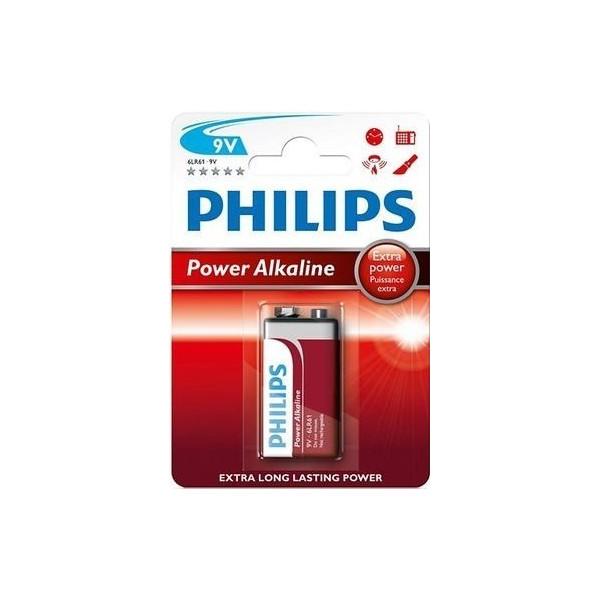 Pila alcalina 6LR61 POWER ALKALINE 9V Philips 12 blisters de 1 unidad